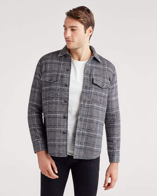 7 For All Mankind Double Face Shirt Jacket in Glen Plaid