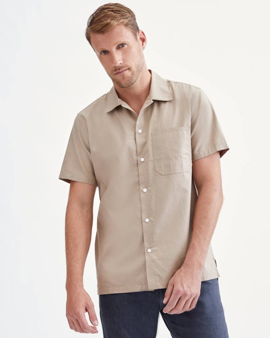 7 For All Mankind Lightweight Poplin Shirt in Beige