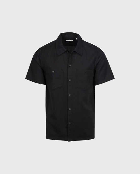 7 For All Mankind Short Sleeve Camp Shirt in Black
