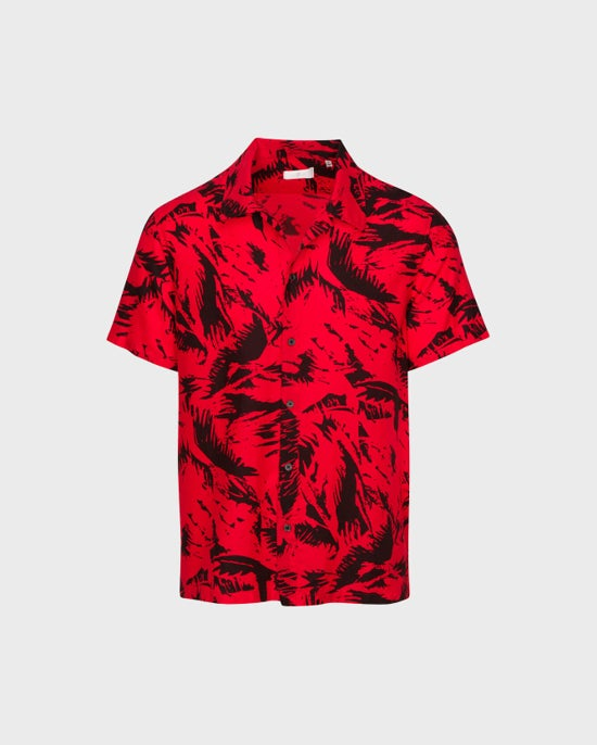 7 For All Mankind Short Sleeve Camp Shirt in Red / Black Palm Print
