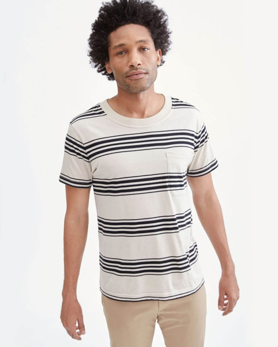 7 For All Mankind Modern Tee in Ivory / Black Stripe