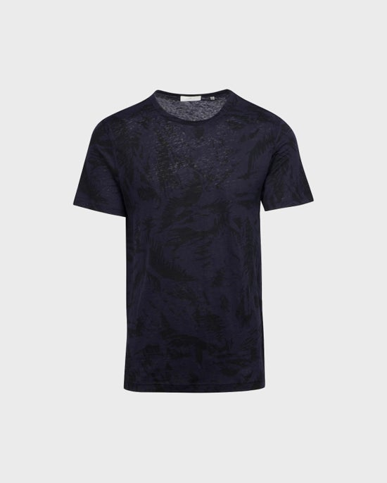 7 For All Mankind Printed Linen Tee in Navy Palm