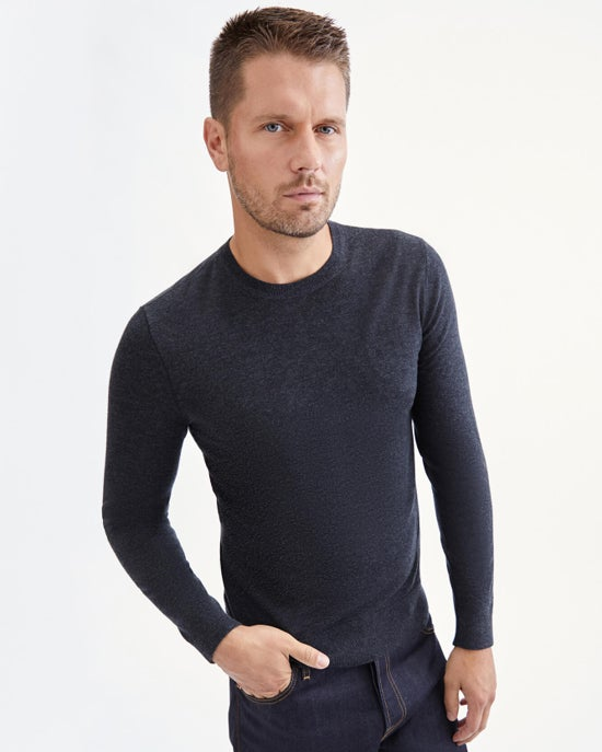 7 For All Mankind Contrast Linking Crewneck Sweater in Charcoal