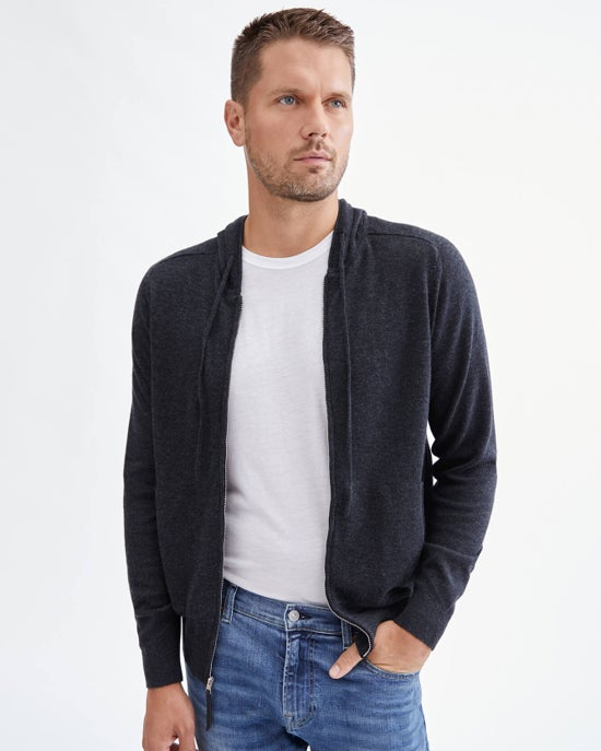 7 For All Mankind Zip Front Hoodie in Charcoal