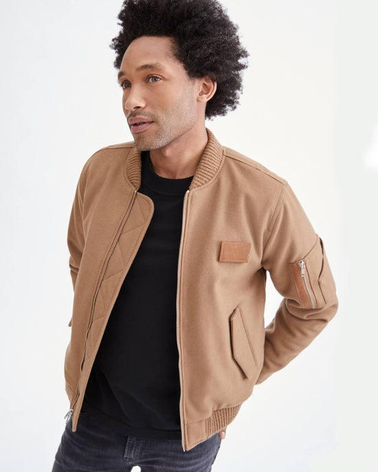 7 For All Mankind Wool Bomber in Camel