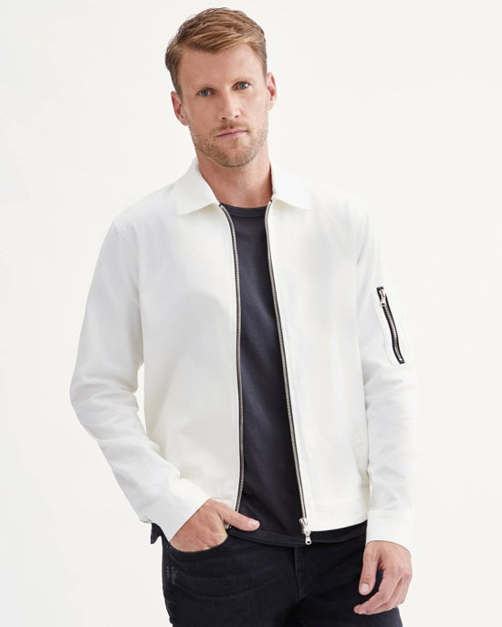 7 For All Mankind Cotton Twill Harrington Jacket in White