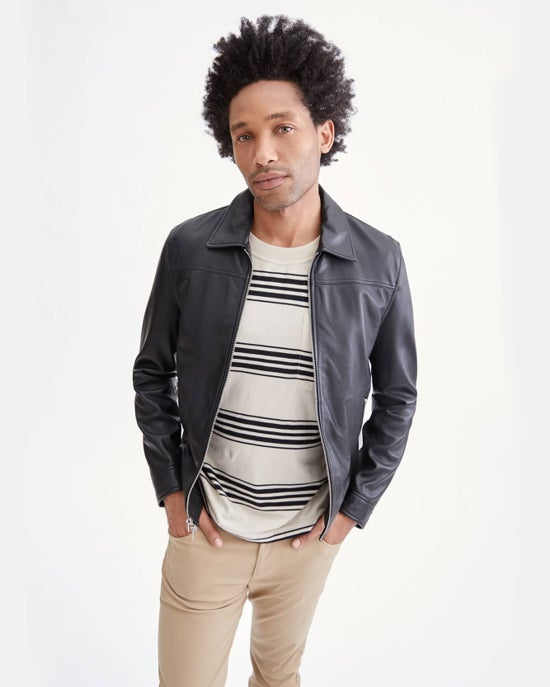 7 For All Mankind Zip Front Leather Jacket in Black
