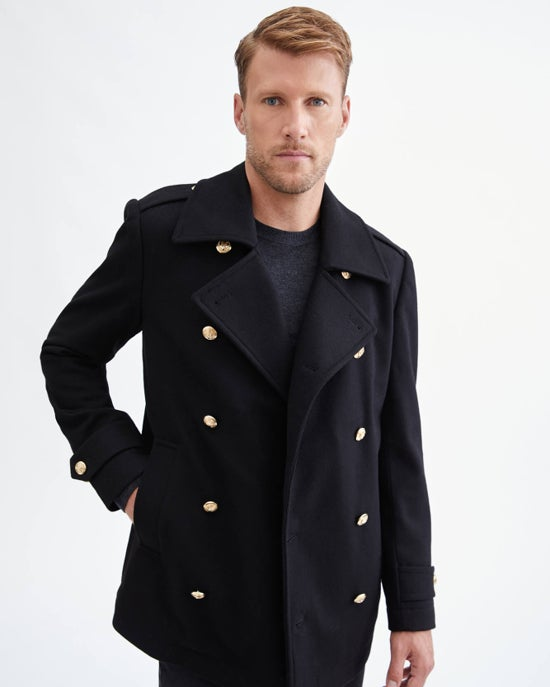 7 For All Mankind Wool Pea Coat in Black