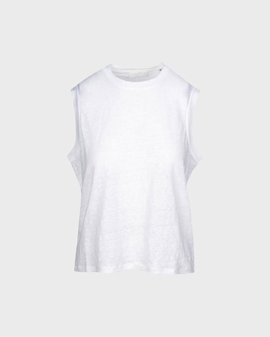 7 For All Mankind Welt Pocket Muscle Tee in Optic White