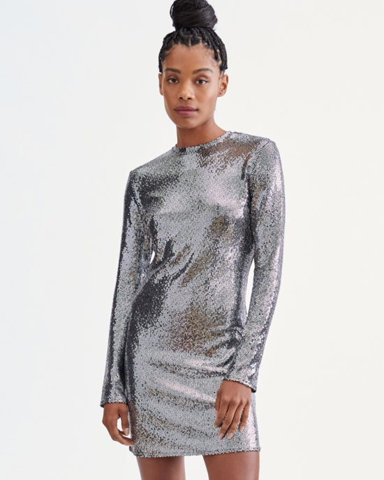 7 For All Mankind Long Sleeve Sparkle Dress in Silver
