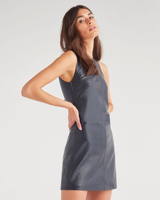 7 For All Mankind Leather Mini Dress in Classic Navy