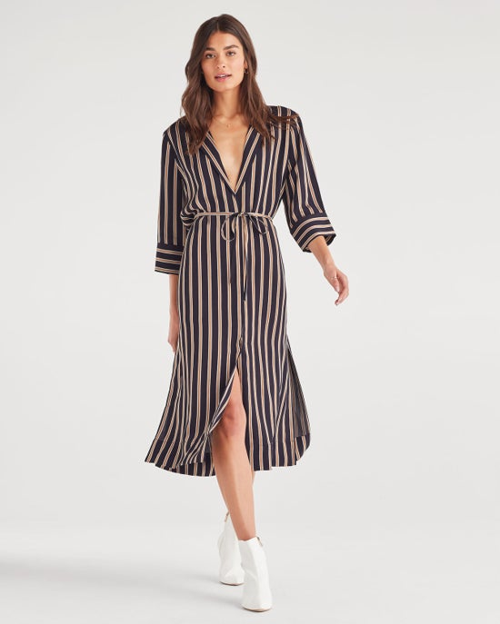7 For All Mankind Maxi Shirt Dress with Side Slits in Gold Navy Stripe