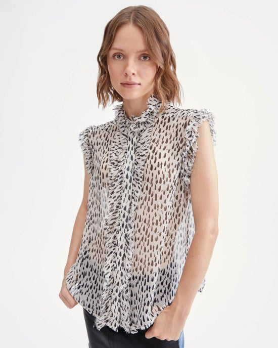 7 For All Mankind Sleeveless Top With Ruffle Collar