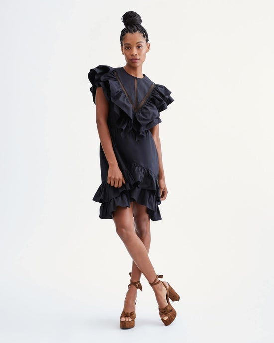 7 For All Mankind Ruffle Dress with Lace Trim in Jet Black