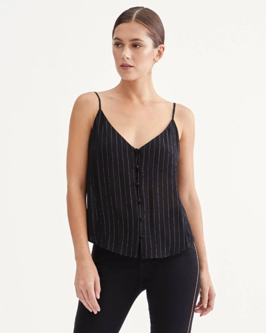 7 For All Mankind Button Front Cami in Jet Black & Gold