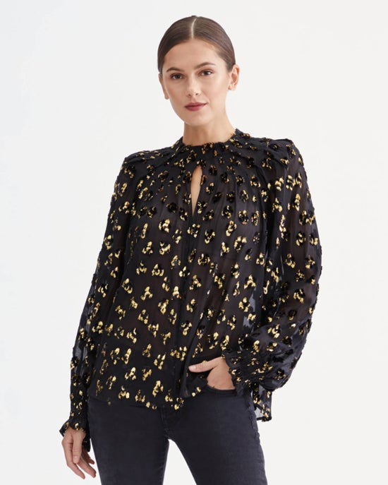7 For All Mankind Long Sleeve Pin Tuck Blouse in Jet Black with Gold Lurex