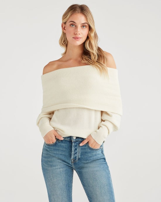 7 For All Mankind Cashmere Cowl Neck Sweater in Soft White