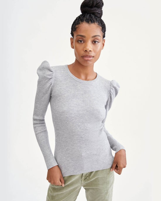 7 For All Mankind Long Sleeve Puff Shoulder Crewneck in Heather Grey