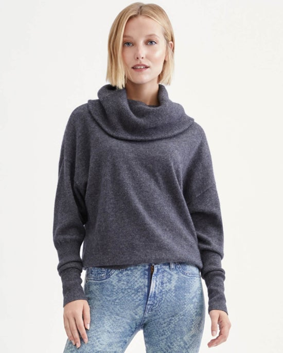 7 For All Mankind Cashmere Funnel Neck Sweater in Heather Charcoal