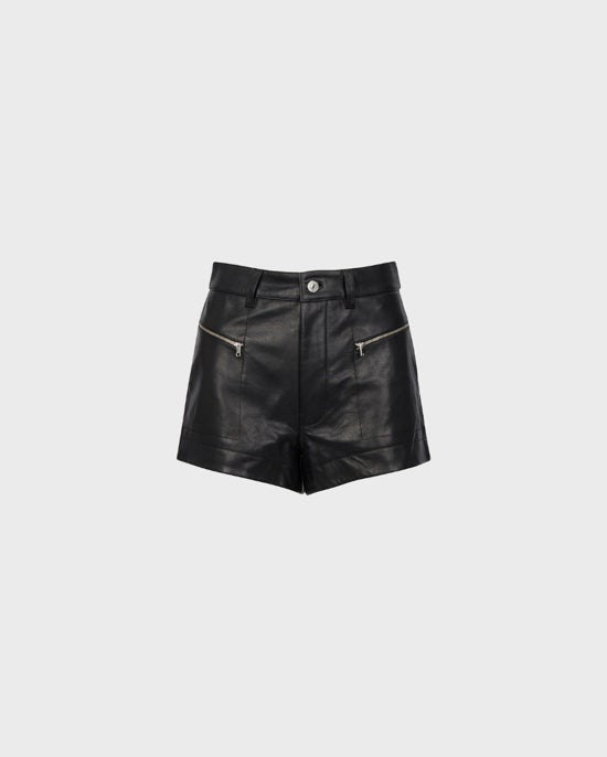 7 For All Mankind Zipper Leather Shorts in Jet Black