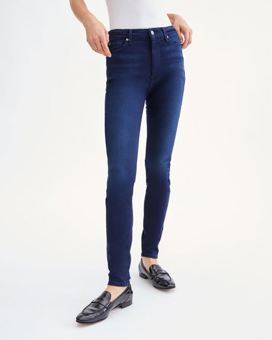 7 For All Mankind Slim Illusion High Waist Skinny in Twilight Blue