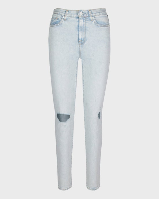 7 For All Mankind High Waist Ankle Skinny with Distressing in Grand Street