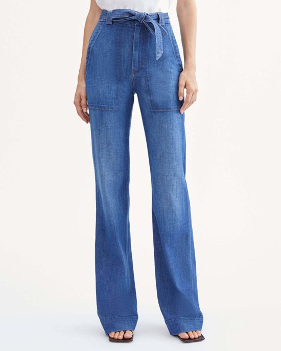 7 For All Mankind St. Tropez Wide Leg Jean in Stone Wash