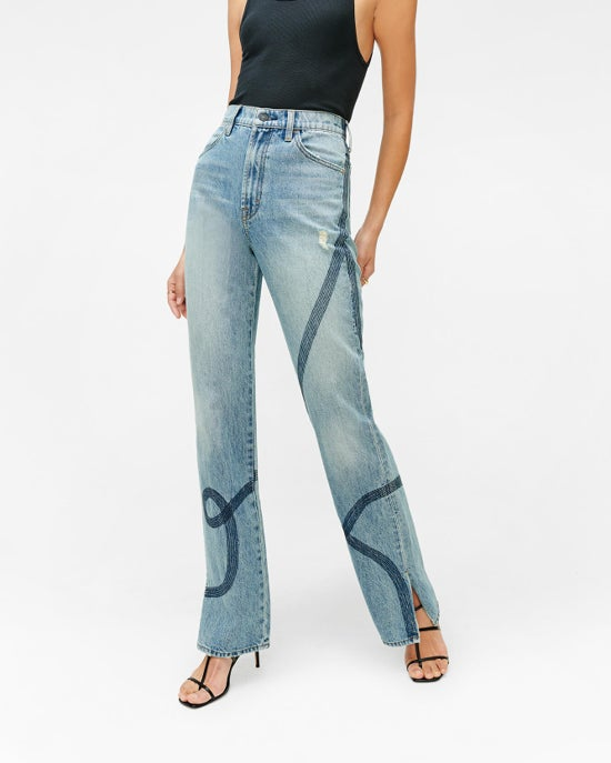 7 For All Mankind High Waist Straight with Embroidery in Topanga