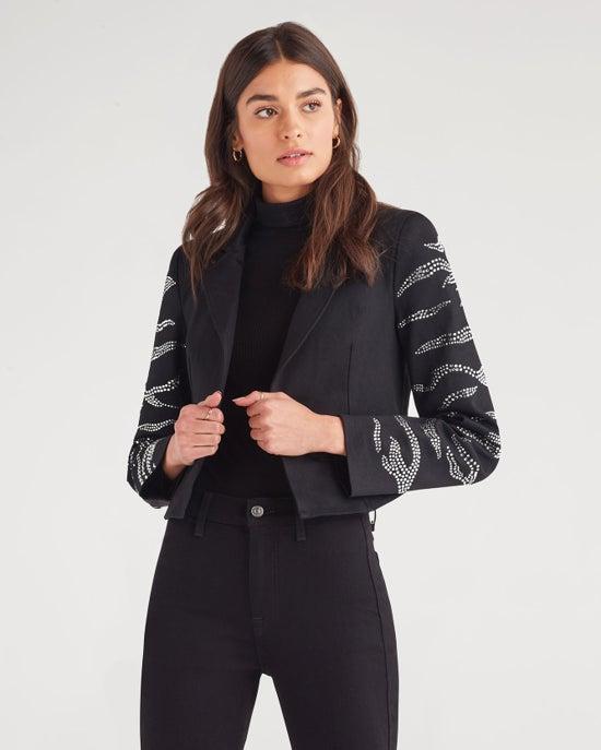7 For All Mankind Zebra Crystal Bolero Jacket in Black