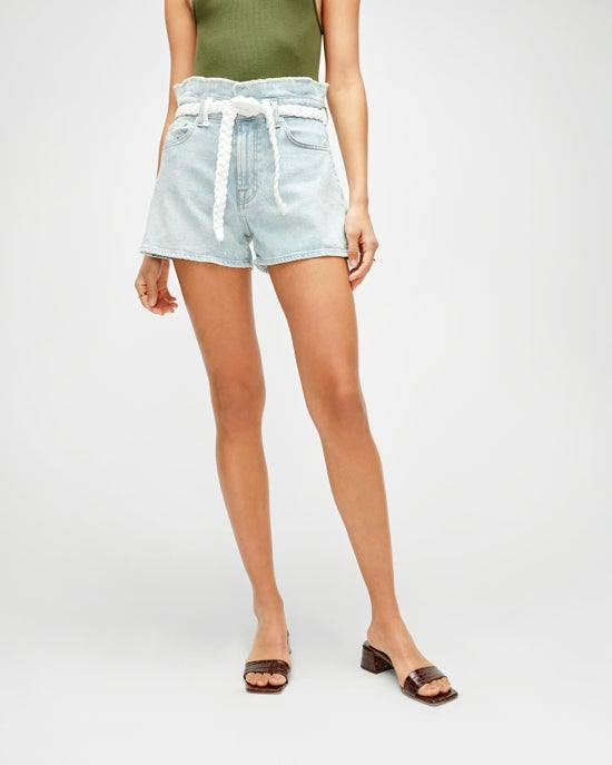 7 For All Mankind Paperbag Short with Braided Belt in Grand Street