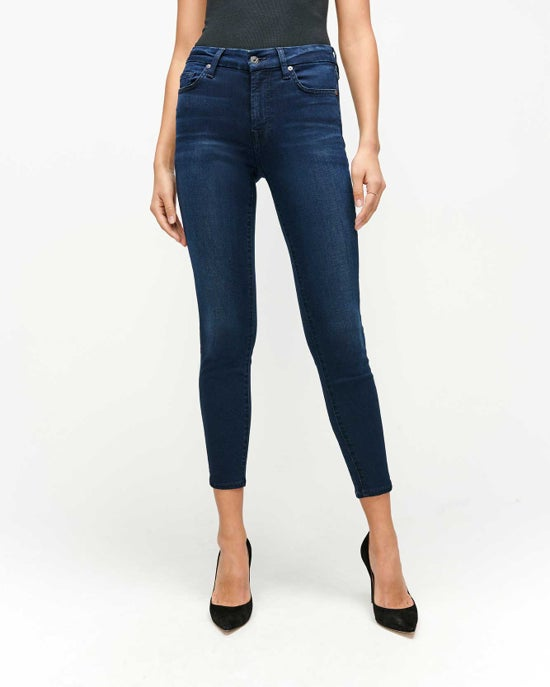 7 For All Mankind Slim Illusion High Waist Ankle Skinny in Twilight Blue