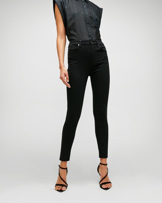 7 For All Mankind Slim Illusion High Waist Ankle Skinny in Luxe Black