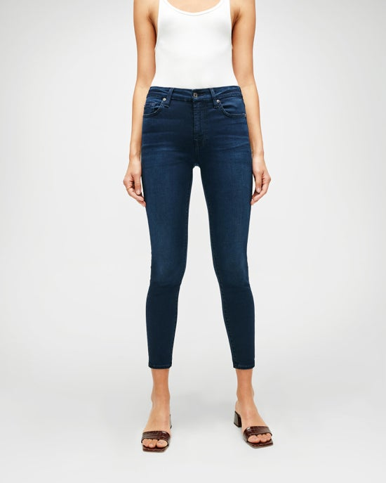 7 For All Mankind Slim Illusion Ankle Skinny in Twilight Blue
