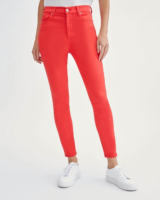 7 For All Mankind High Waist Ankle Skinny in Solid Red