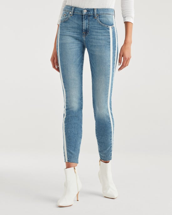 7 For All Mankind Ankle Skinny with Cut Off Hem and Double White Stripes in Sloane Vintage