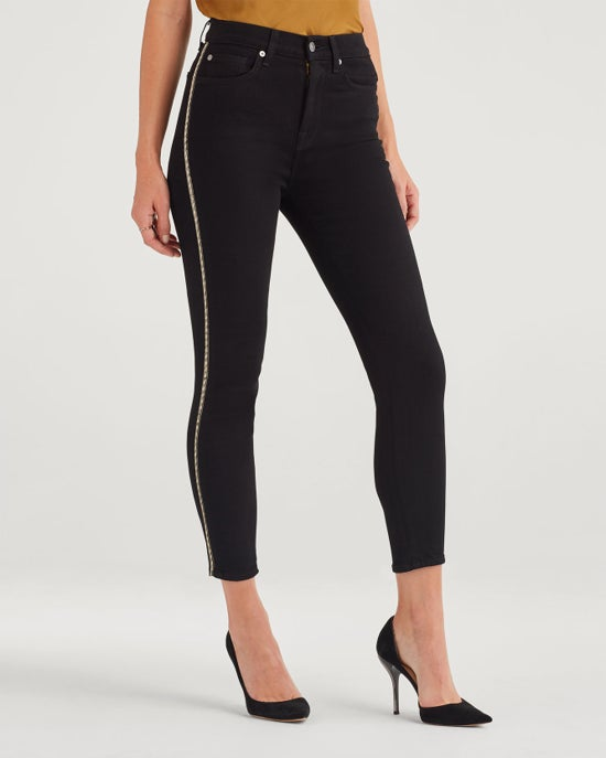 7 For All Mankind Luxe Vintage High Waist Ankle Skinny with Metallic Chevron Sides in Nightfall
