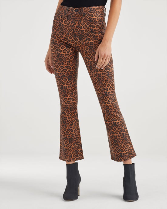 7 For All Mankind High Waist Slim Kick in Coated Penny Leopard