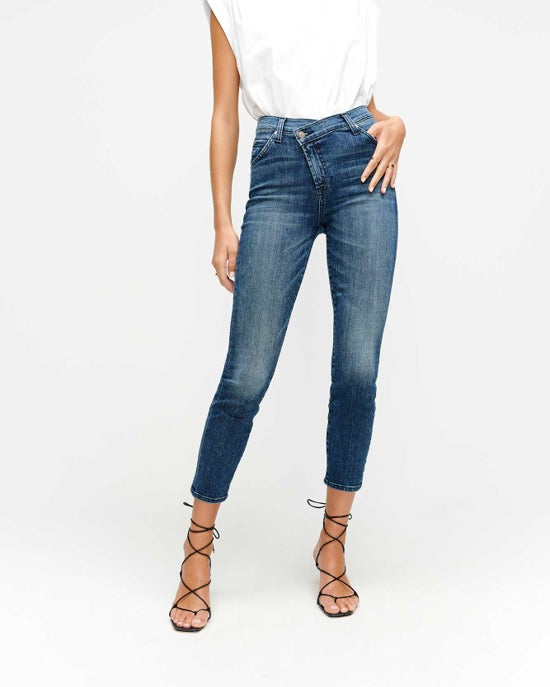 7 For All Mankind Asymmetric Skinny Jean in Blue Monday