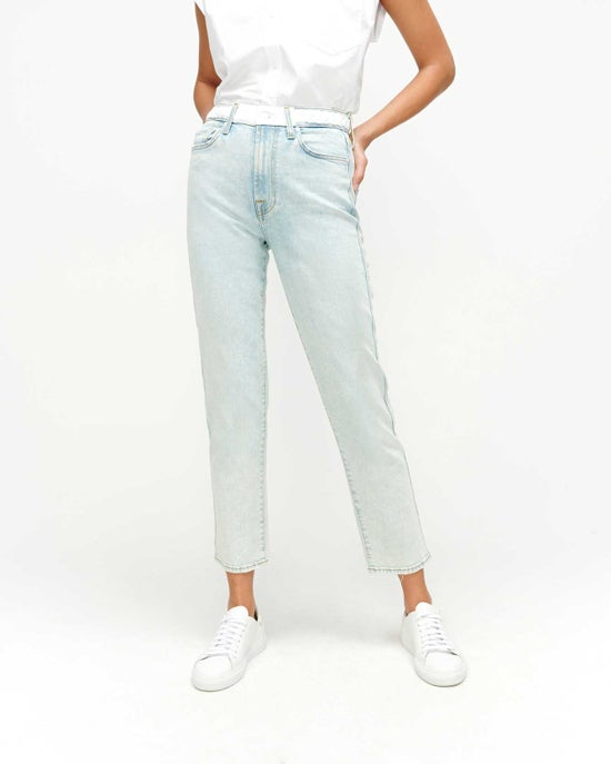 7 For All Mankind High Waist Cropped Straight with Braided Belt in Grand Street