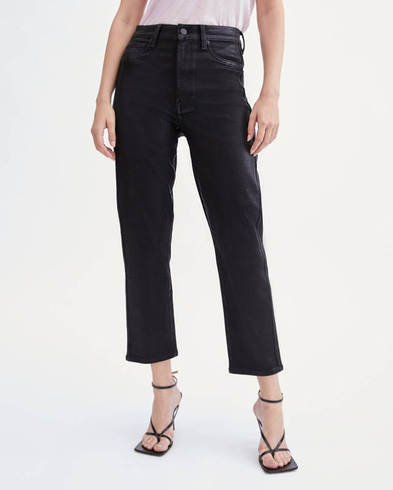 7 For All Mankind Coated High Waist Cropped Straight in Black