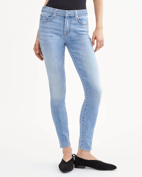 7 For All Mankind Ankle Skinny with Pleated Waistband in Bright Blue Jay