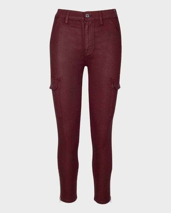 7 For All Mankind Coated Skinny Cargo in Merlot