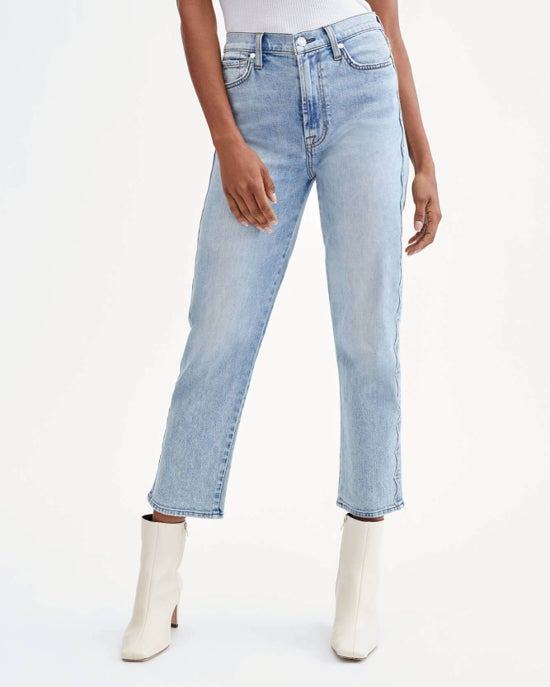 7 For All Mankind Scalloped High Waist Cropped Straight in Aspen