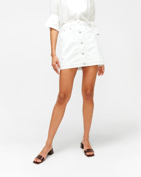 7 For All Mankind Asymmetric Button Front Skirt in Prince Street