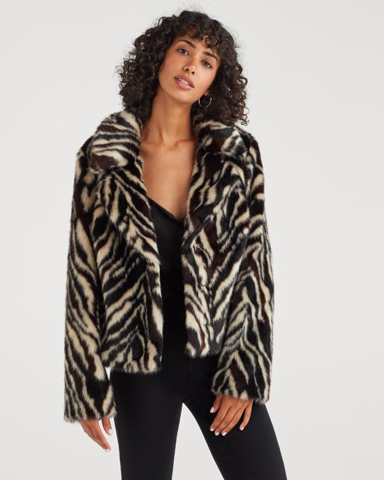 7 For All Mankind Faux Fur Jacket in Zebra