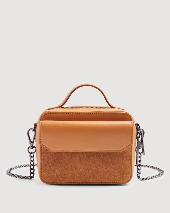 7 For All Mankind Leather Cube Bag in Cognac
