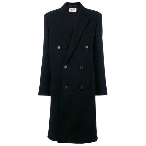 Saint Laurent Women Double Breasted Black Coat