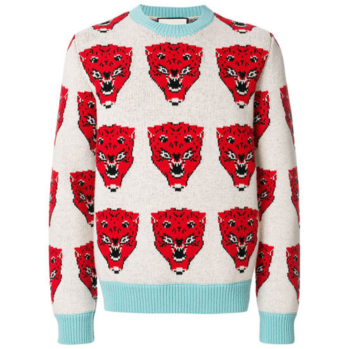 Gucci Men Tiger Jacquard Knit Sweater