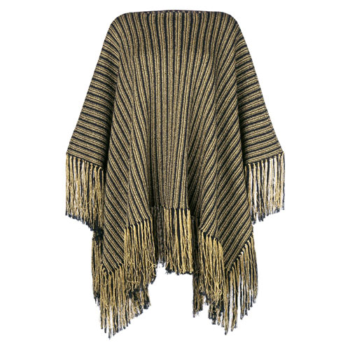 "Saint Laurent Knit Poncho ""Fringed Stripes"""
