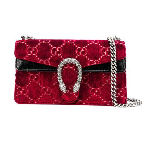 """Gucci Women Dionysus GG Supreme Shoulder Bag """"Red Velvet"""""""